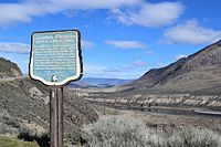 """Historical marker at site of Canadian National's """"last spike"""" near Ashcroft, British Columbia"""