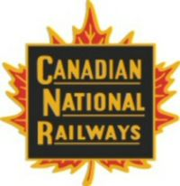 """An early logo or """"herald"""" of the Canadian National Railways. It was replaced by the CN """"worm"""" in 1960."""