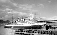 The turbine steamship Prince Robert berthed at Vancouver, BC