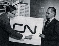 Allan Fleming and Charles Harris, CN director of communications, at the launch of the CN logo at Montreal in 1960