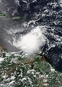 Tropical Storm Harvey in the Eastern Caribbean on August 18.