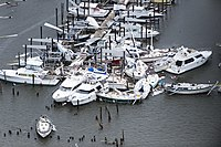 Damage by Harvey to a marina in Rockport, Texas, on August 28, 2017