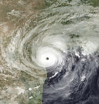 Satellite picture of Harvey making landfall in Texas on August 26