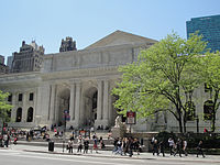 New York Public Library Main Branch at 42nd Street and Fifth Avenue; built (1897–1911) and replaced the Croton Reservoir; Carrère and Hastings, architects