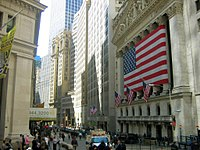 The New York Stock Exchange on Wall Street, by a significant margin the world's largest stock exchange per market capitalization of its listed companies, at US$23.1 trillion as of April 2018.