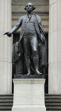 This statue of George Washington stands in front of Federal Hall (on Wall Street) where he was inaugurated as the first U.S. president in 1789, sculptor, John Quincy Adams Ward