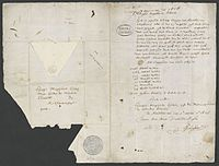 1626 letter in Dutch by Pieter Schaghen stating the purchase of Manhattan for 60 guilders.