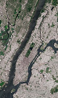 Satellite image of Manhattan Island, bounded by the Hudson River to the west, the Harlem River to the north, the East River to the east, and New York Harbor to the south, with rectangular Central Park prominently visible. Roosevelt Island, in the East River, belongs to Manhattan.