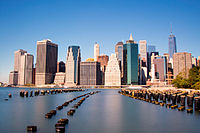 The Financial District of Lower Manhattan, seen from Brooklyn