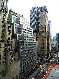 Numerous buildings have a jagged façade, exemplified at Park Avenue and 57th Street in Midtown Manhattan.