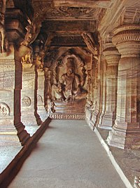Vishnu image inside the Badami Cave Temple Complex number 3. The complex is an example of Indian rock-cut architecture.