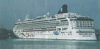 Norwegian Star, a Cruise ship docked at the New Mangalore Port.