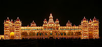 Mysore Palace in the evening, the official residence and seat of the Wodeyar dynasty, the rulers of Mysore of the Mysore Kingdom, the royal family of Mysore.