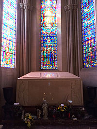 Jackson's unmarked crypt at the end of the Sanctuary of Ascension in the Holly Terrace of the Great Mausoleum, Forest Lawn Glendale