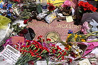 Fans placed flowers and notes on Jackson's star on the Hollywood Walk of Fame on the day of his death