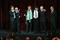 Jagger (left) next to Martin Scorsese, along with Richards, Wood and Watts, at the premiere of Shine a Light in Berlin