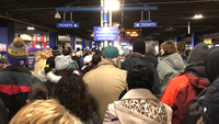 Security prescreening at the Mall of America before boarding the Metro Blue Line to U.S. Bank Stadium