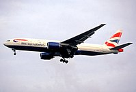 G-YMMM, the Boeing 777 involved in the accident, photographed in January 2003