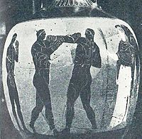 A boxing scene depicted on a Panathenaic amphora from Ancient Greece, circa 336 BC, British Museum