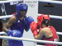 Nicola Adams is the first female boxer to win an Olympic gold medal. Here with Mary Kom of India.