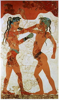 A painting of Minoan youths boxing, from an Akrotiri fresco circa 1650 BC. This is the earliest documented use of boxing gloves.