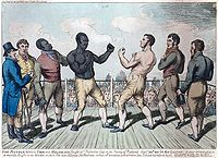 Tom Molineaux (left) vs Tom Cribb in a re-match for the heavyweight championship of England, 1811