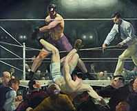 Firpo sending Dempsey outside the ring; painting by George Bellows.