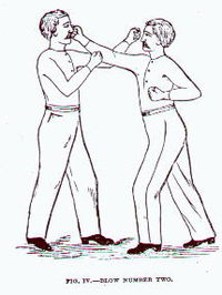 A straight right demonstrated in Edmund Price's The Science of Defence: A Treatise on Sparring and Wrestling, 1867