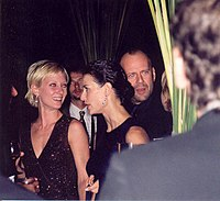 Anne Heche, Moore and Bruce Willis at the 1997 Emmy Awards