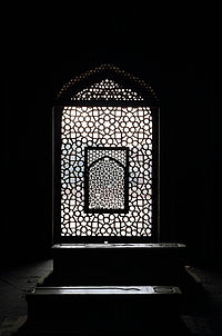 A jali mihrab indicates the qibla direction while one stands inside Humayun's cenotaph's chamber and looks to the west.