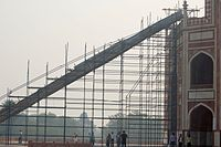 Restoration work at Humayun's tomb, required removal of 3000 truckloads (12,000 cubic meters) of earth, and special chute installed at the back, from the roof (2008)
