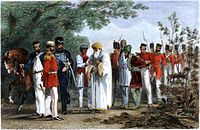 Capture of the last Mughal emperor Bahadur Shah Zafar and his sons by William Hodson at Humayun's tomb in September 1857