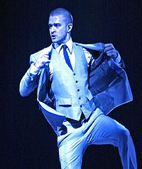 Timberlake performing at St. Paul, Minnesota, one of the venues of his first worldwide tour, the FutureSex/LoveShow