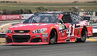 Busch racing at the 2015 Toyota/Save Mart 350, in which he took second place behind his brother, who took first