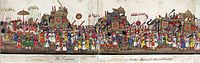 A panorama showing the imperial procession to celebrate the feast of the Eid ul-Fitr, with the emperor on the elephant to the left and his sons to the right (24 October 1843)