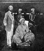 Bahadur Shah II with his sons Mirza Jawan Bakht and Mirza Shah Abbas along with a British personnel while he was in exile in Burma
