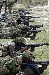 Jamaican soldiers training to fire the FN FAL in 2002