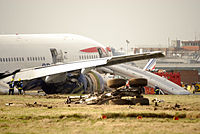The wreckage of British Airways Flight 38, a Boeing 777 that crashed at London Heathrow Airport