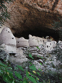 Cliff dwellings at Las Jarillas Cave, part of the Cuarenta Casas archeological site.