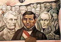 A mural by Piña in the Government Palace, honouring the liberators Abraham Lincoln, Benito Juárez and Simón Bolívar