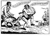 """A political cartoon showing merchants dodging the """"Ograbme"""", which is """"Embargo"""" spelled backwards (1807)"""
