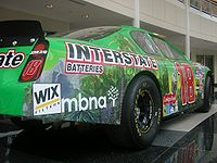 Bobby Labonte's former Interstate Batteries Chevrolet Monte Carlo on display at JGR headquarters.