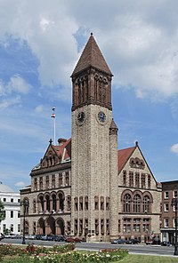 Albany City Hall, an 1883 Richardsonian Romanesque structure, is the seat of Albany's government.