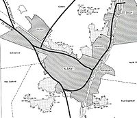 This 1955 map shows the planned expansion of the Interstate Highway System around Albany.