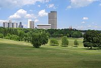 Lincoln Park is flanked on the north by the Empire State Plaza.