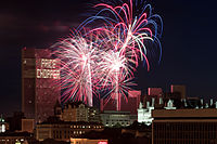Price Chopper sponsors the annual Fourth of July fireworks show at the Empire State Plaza (2009 show pictured).
