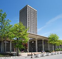 State Quad is one of the four iconic dormitory towers at SUNY Albany's Uptown Campus.