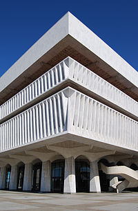 Southwest corner of the Cultural Education Center on Empire State Plaza housing the State Museum, Library, and Archives.