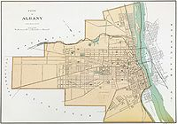 This 1895 map of Albany shows the gridded block system as it expanded around the former turnpikes.