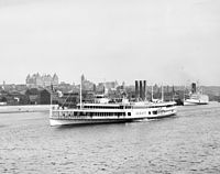 The steamer Albany departs for New York City; at the height of steam travel in 1884, more than 1.5 million passengers took the trip.